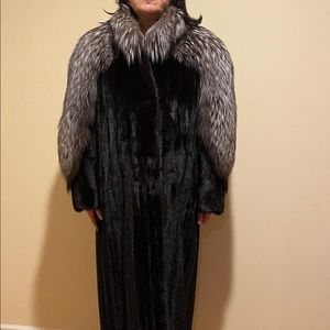 A female black mink with silver fox sleeves!